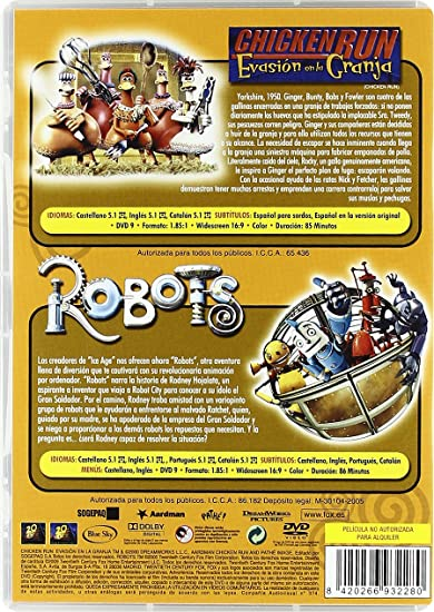Amazon.com: Robots + Chicken Run (Import Movie) (European Format - Zone 2) (2012) Animaciã?N; Peter Lord; Chris Wedge: Movies & TV