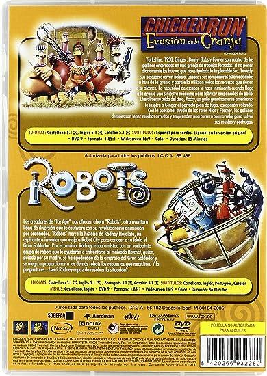 Robots + Chicken Run [DVD]: Amazon.es: Personajes Animados, Nick Park, Peter Lord, Chris Wedge, Carlos Saldanha, Jerry Davis, John C. Donkin: Cine y Series ...