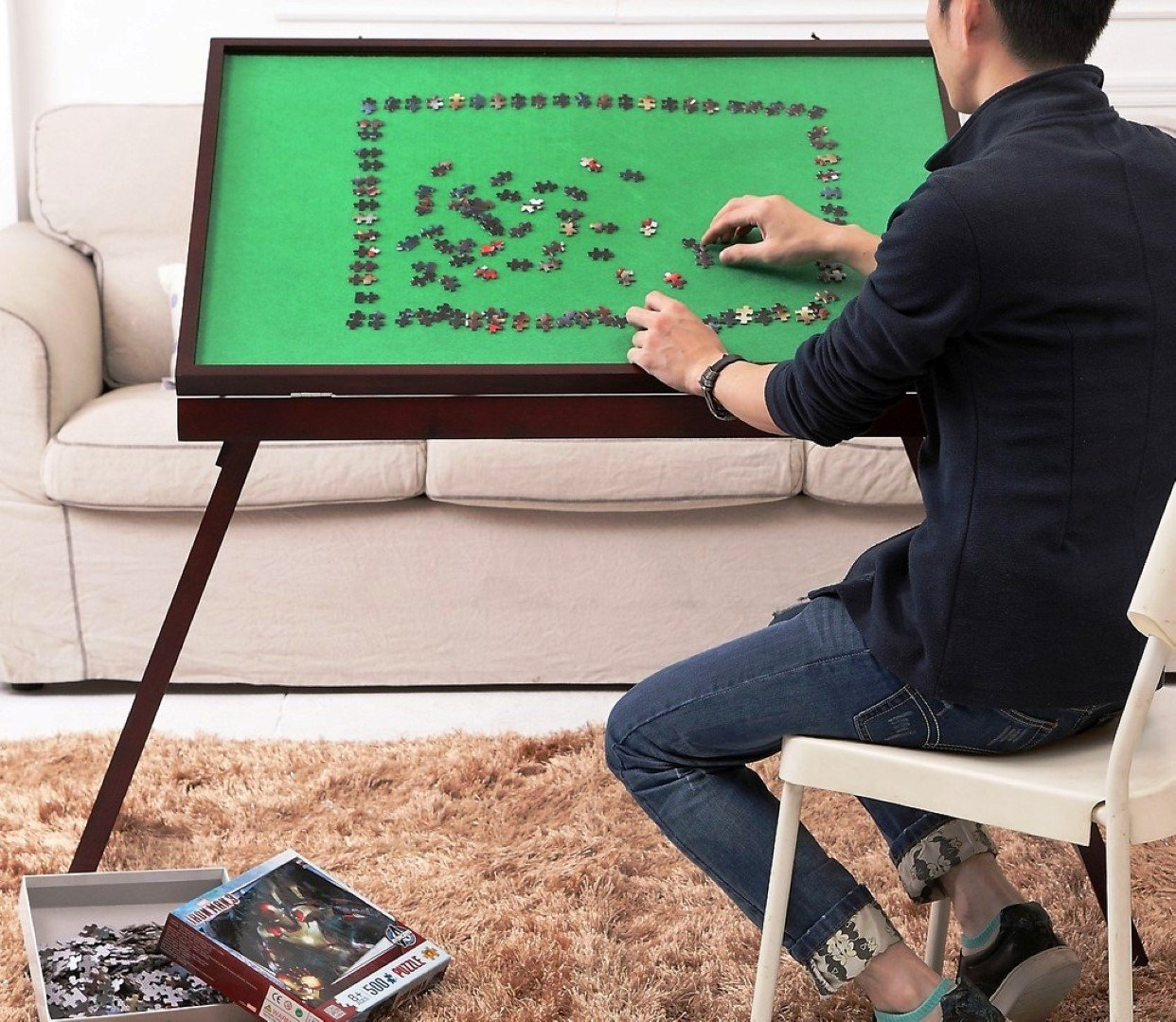 Abahub Jigsaw Puzzle Table and Storage with Folding and Tilting Function