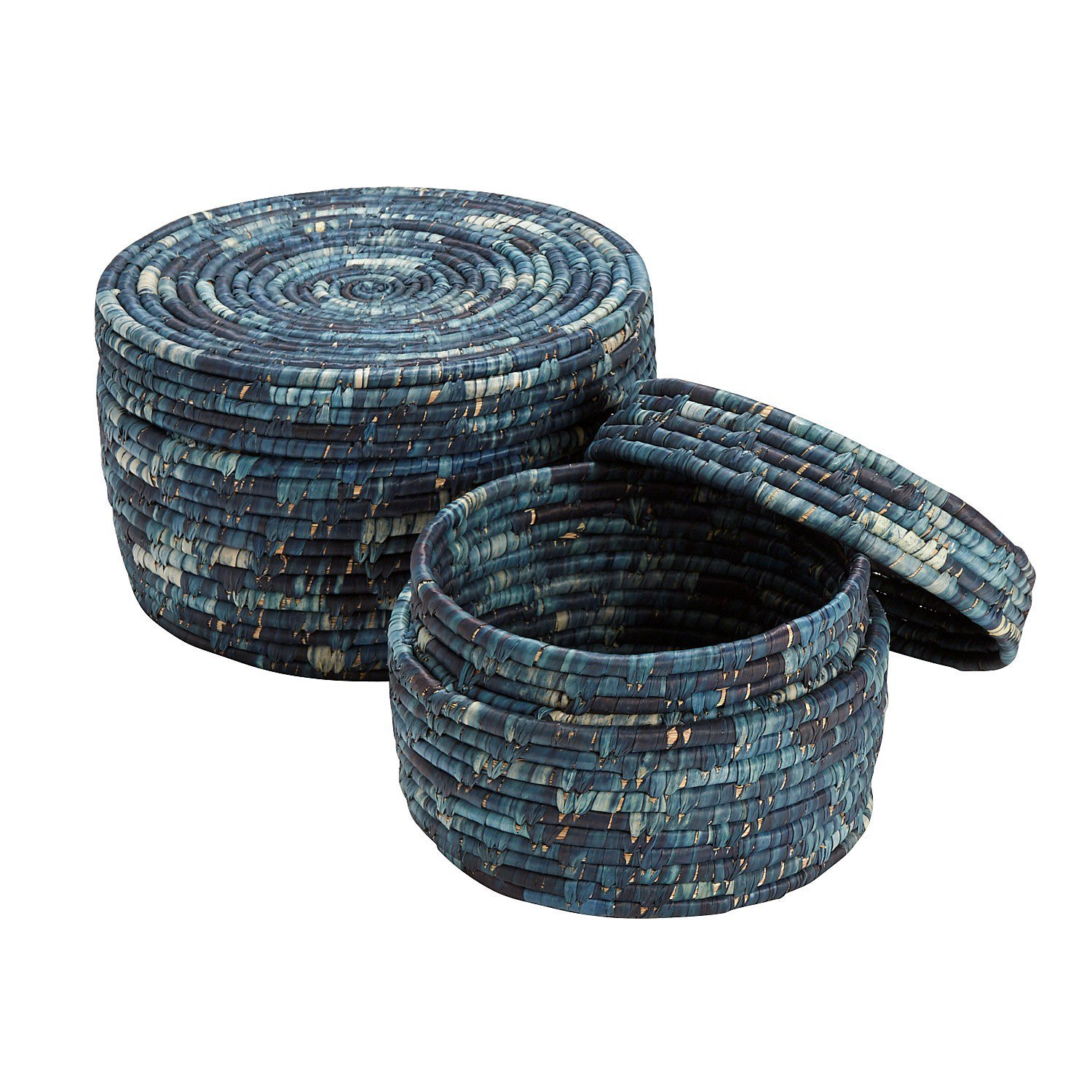 Ten Thousand Villages Pair Of Round 12'' And 9'' Woven Kaisa Baskets With Lids 'Ocean Blue Basket Set'