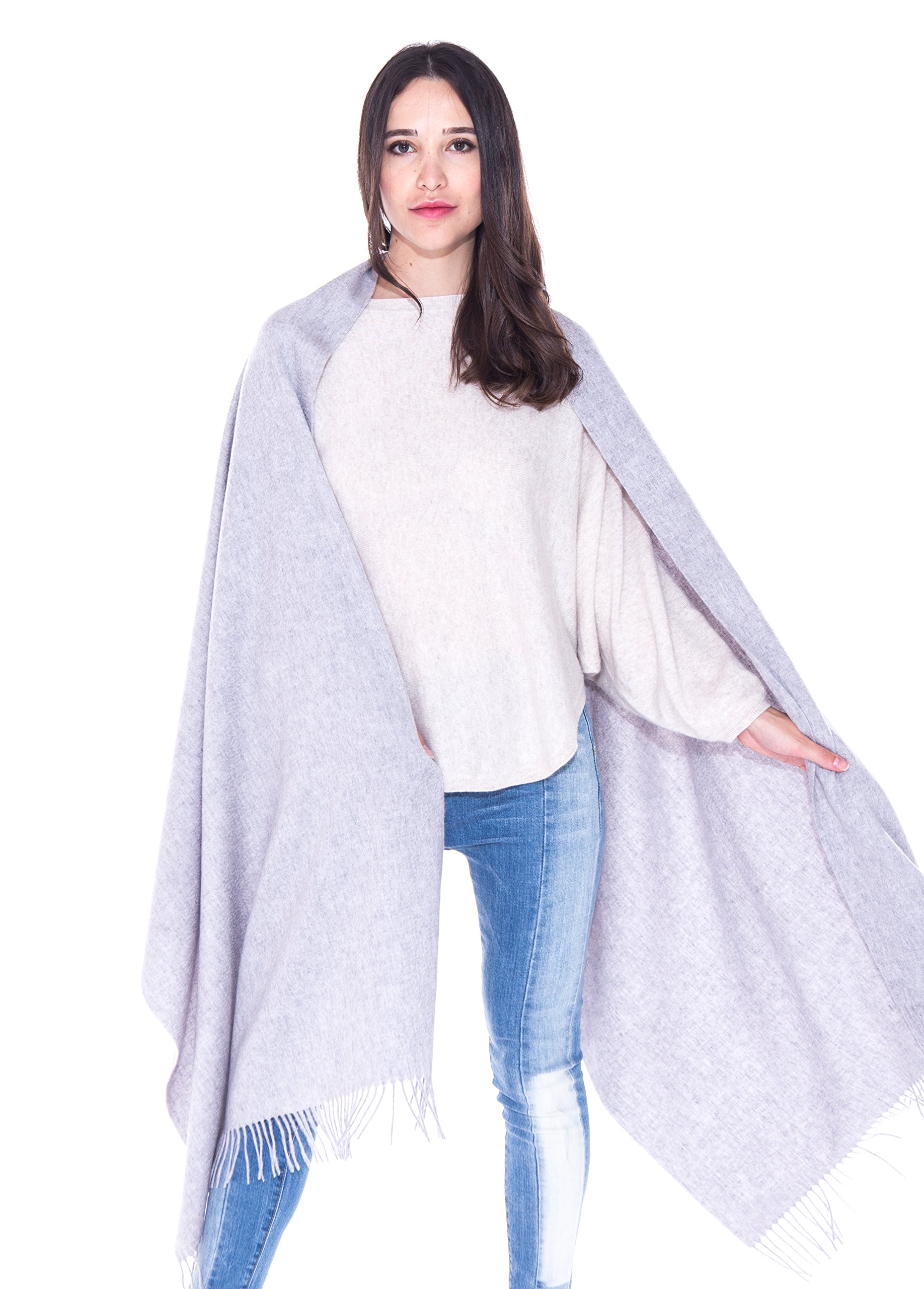 LEBAC 100% Cashmere Wrap Shawl Stole With Fringes - Extra Large Super Warm