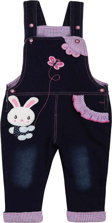 Camilife Baby M/ädchen Denim Latzhose Jeans Hose mit Hosentr/äger Kinder Baumwolle Overall Niedliches H/äschen Schmetterling Muster Gr/ö/ße 68//74//80//86//92//98