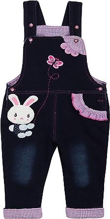 Bebé Niñas Denim Pantalones de Peto Overol Algodón Jeans Pantalones con Tirante - Lindo Conejito Mariposa Patrón Talla 68/74/80/86/92/98: Amazon.es: Ropa y accesorios