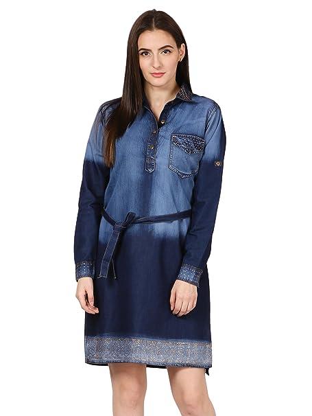f7f81b5521c Saadgi Women's Short Denim Dress- Knee Length: Amazon.in: Clothing &  Accessories