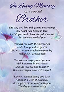 A Loving Brother In Heaven Memorial Graveside Funeral Poem Keepsake