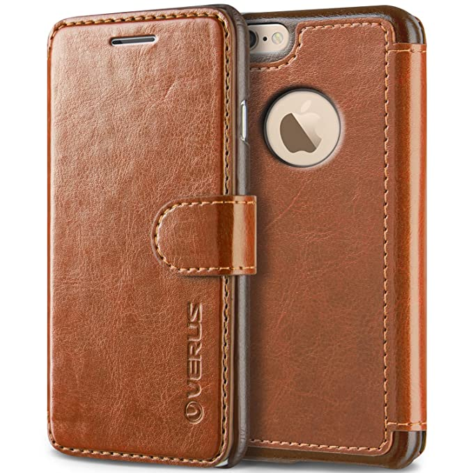 outlet store e767d d37b3 VRS Design [Brown] Premium Leather Folio Case Flip Wallet Cover [Layered  Dandy] Classic Leather with 3 Card Slots Phone Case for Apple iPhone 6 Plus  / ...