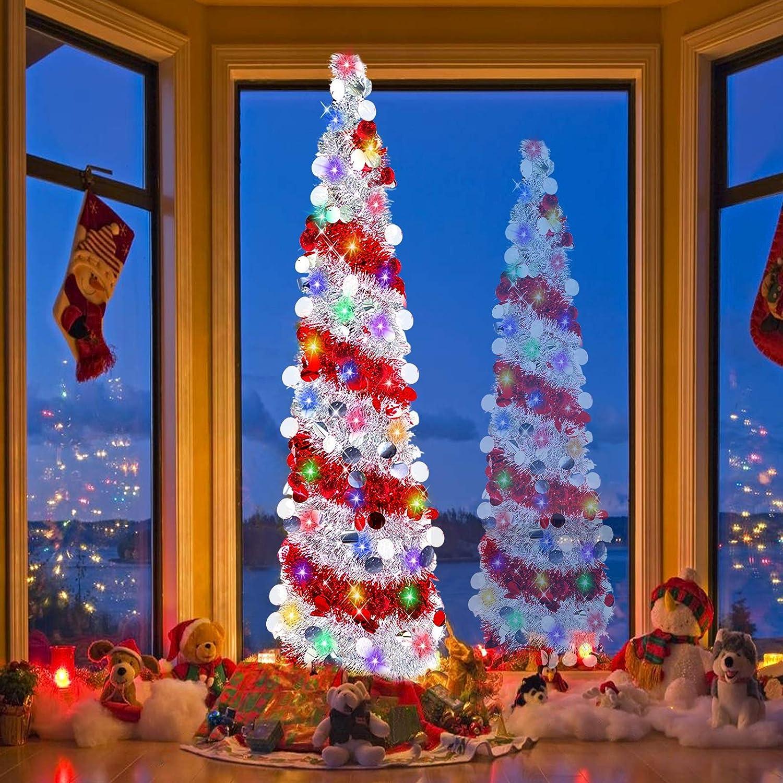 ornamenti in metallo per casa pop up pre-illuminato a batteria decorazioni natalizie 2 modalit/à con paillettes vacanze Turnmeon Albero di Natale con 50 luci di colore argento