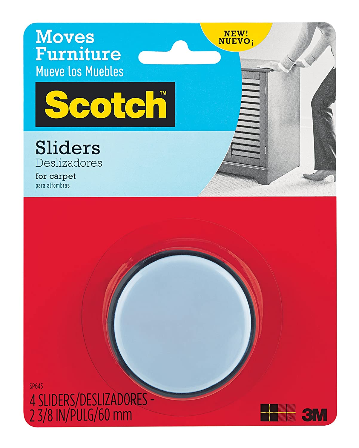 8 Sliders//Pack SP642 Scotch Nail-In Sliders 3//4-Inch Gray//Black 3M Office Products