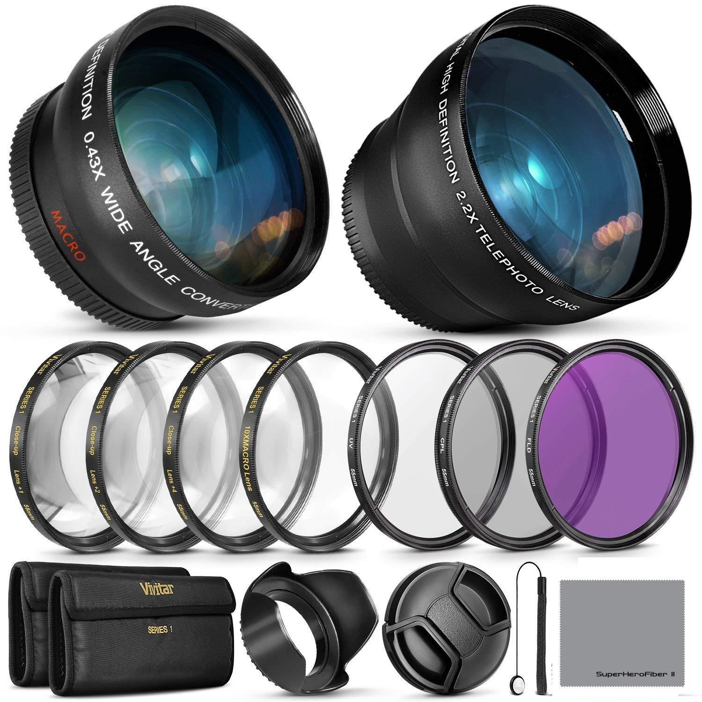 55MM Vivitar Essential Lens & Filter Accessory Kit Nikon AF-P DX 18-55mm Select Sony Lenses - Bundle Wide Angle & Telephoto Lenses, Filters Kit.
