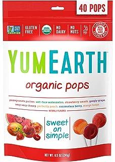 YumEarth - Piruletas Orgánicas de Frutas 8 sabores: Granada, Sandía, Fresa, Uva