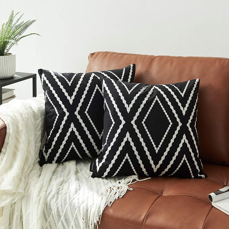 "Nestinco Set of 2 Boho Aztec Geometric Pillow Covers Black and White Decorative Throw Pillow Covers 20"" x 20"" for Boho Decor"