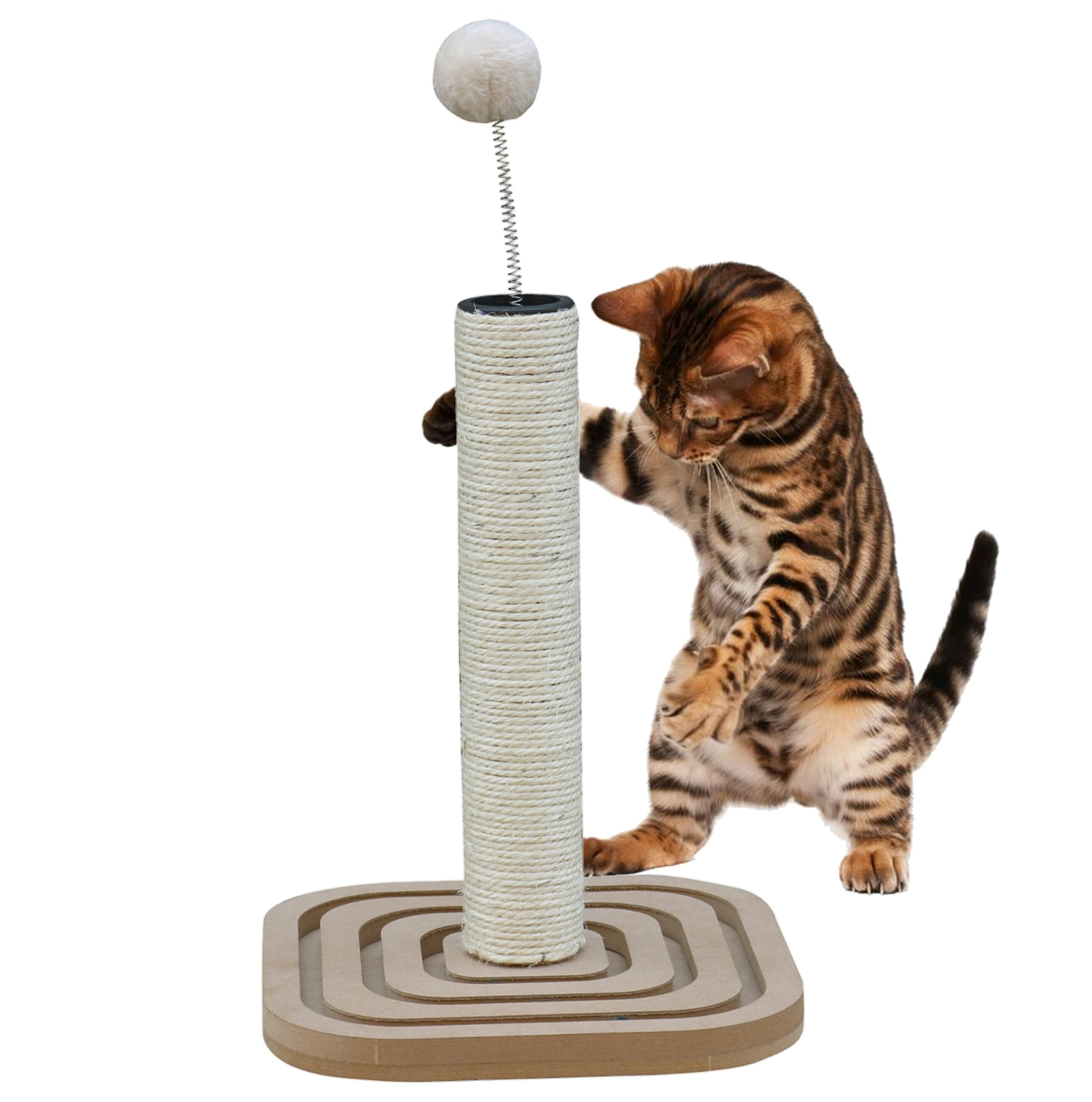 Mr. Peanut's Couch Saver Premium Cat Scratching Post with Built In Interactive Marbles - Durable Sisal Material Keeps Kitten Claws Active & Protects Your Furniture - Includes Interactive Marbles