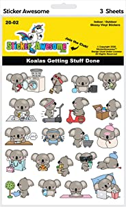 Sticker Awesome Indoor Outdoor Glossy Vinyl Stickers - 3 Sheets (Koalas Getting Stuff Done)