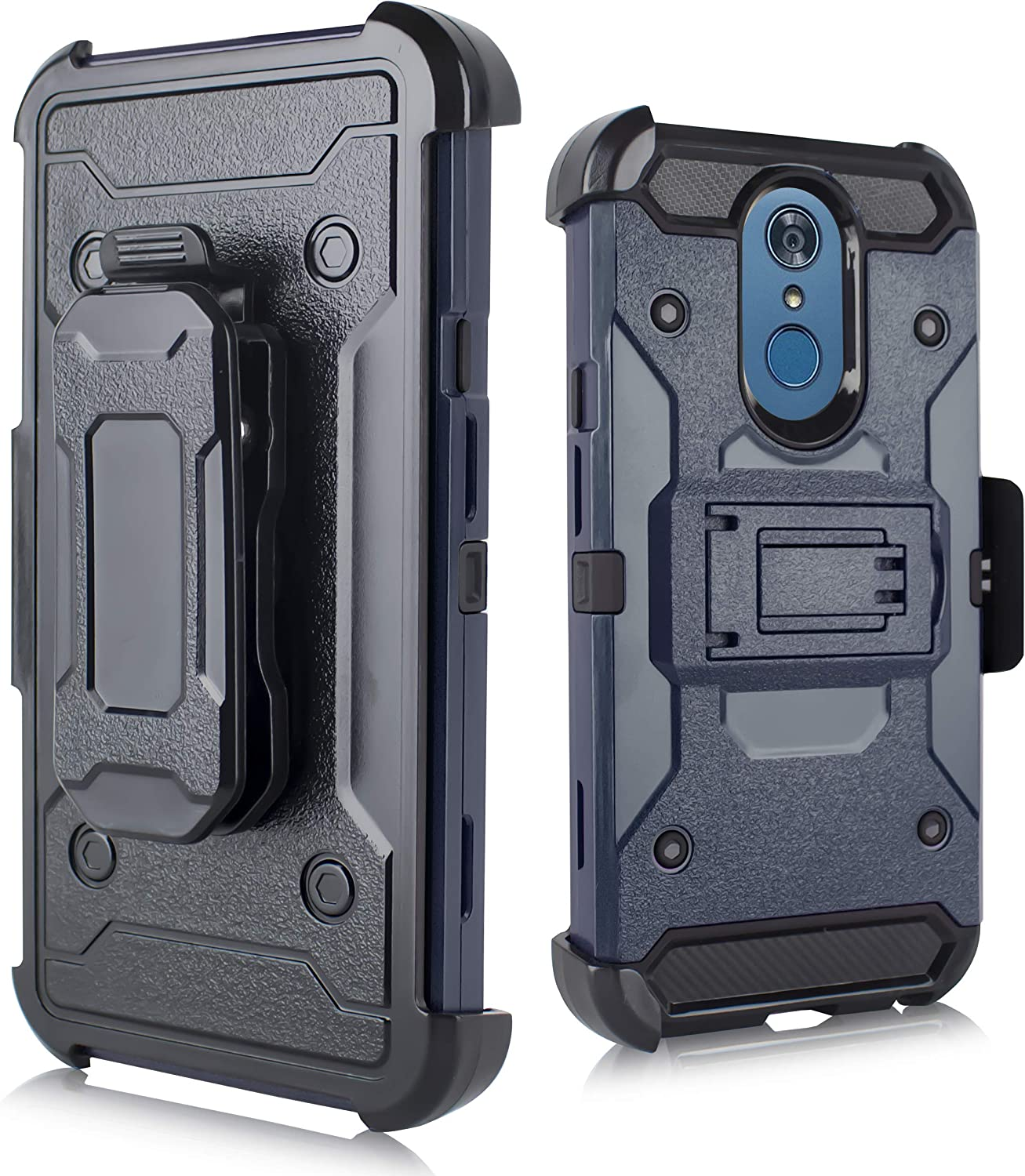 LG Q7 Case, LG Q7 Plus Case, LG Q7 Alpha Case, Heavy Duty Shockproof Full Body Protection Case Cover with Swivel Belt Clip and Kickstand (Blue)