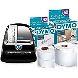 DYMO LabelWriter 450 Turbo Label Maker with 2 Bonus LW Label Rolls (350 Address & 300 Shipping), White, Self-Adhesive