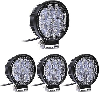 Mctech 4 X 27w Runde Led Offroad Flutlicht Reflektor Scheinwerfer Arbeitslicht Suv Utv Atv Arbeitsscheinwerfer Zusatzscheinwerfer Offroad Scheinwerfer 12v 24v Rückfahrscheinwerfer Auto
