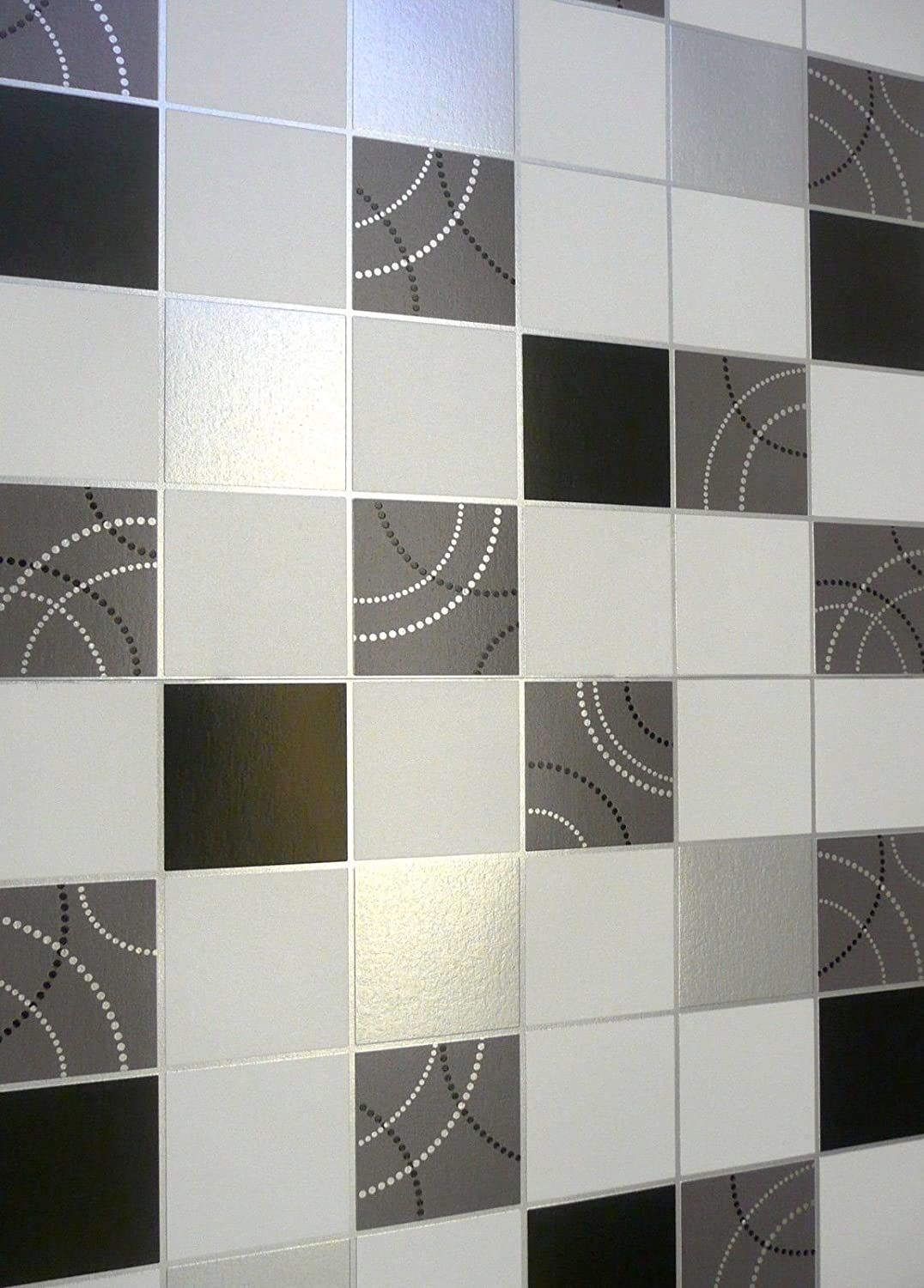 Debona Dotty Wallpaper Kitchen Bathroom Black Silver Tile Effect Washable