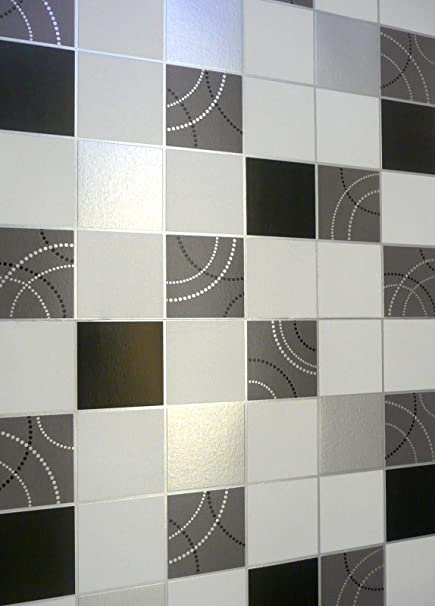 Superieur Debona Dotty Wallpaper Kitchen Bathroom Black Silver Tile Effect Washable