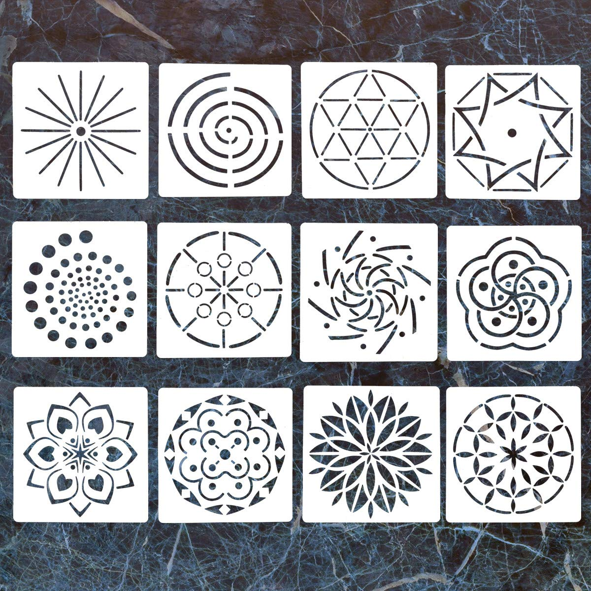 12 Pack Mandala Dotting Stencils Template,Mandala Dotting Stencils Mandala Dot Painting Stencils Painting Stencils for Painting on Wood,Airbrush and Walls Art DaBuLiu