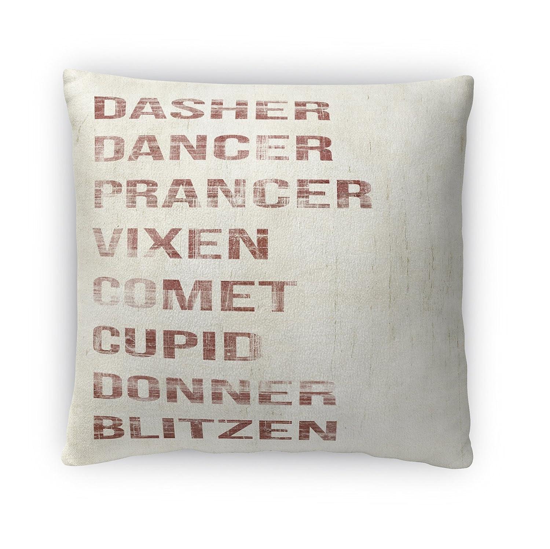 KAVKA Designs Name Deer Fleece Throw Pillow, Size: 16x16x4 - - Ivory//Red TELAVC056FBS16