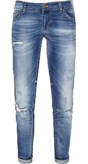 Zhrill Damen Jeans Hose mit unterlegten Destroyed Effekten