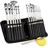 Artist Paint Brushes-15pcs Short Handle Multi-Functionial Brushes Shape for Acrylic Painting, Watercolor, Oil and…
