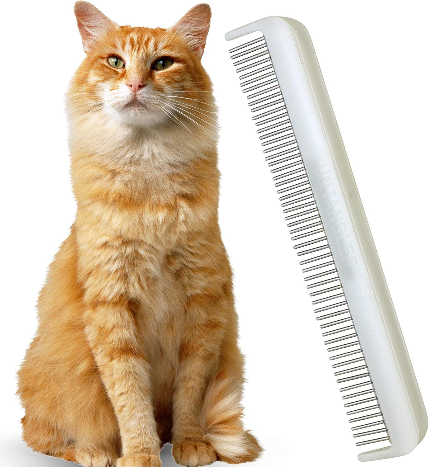 Clears mats Gently and Easily 5 has Ultra fine Spaced Teeth; 7 Dual-Spaced Teeth Cat Comb with Silky Smooth Rotating Teeth