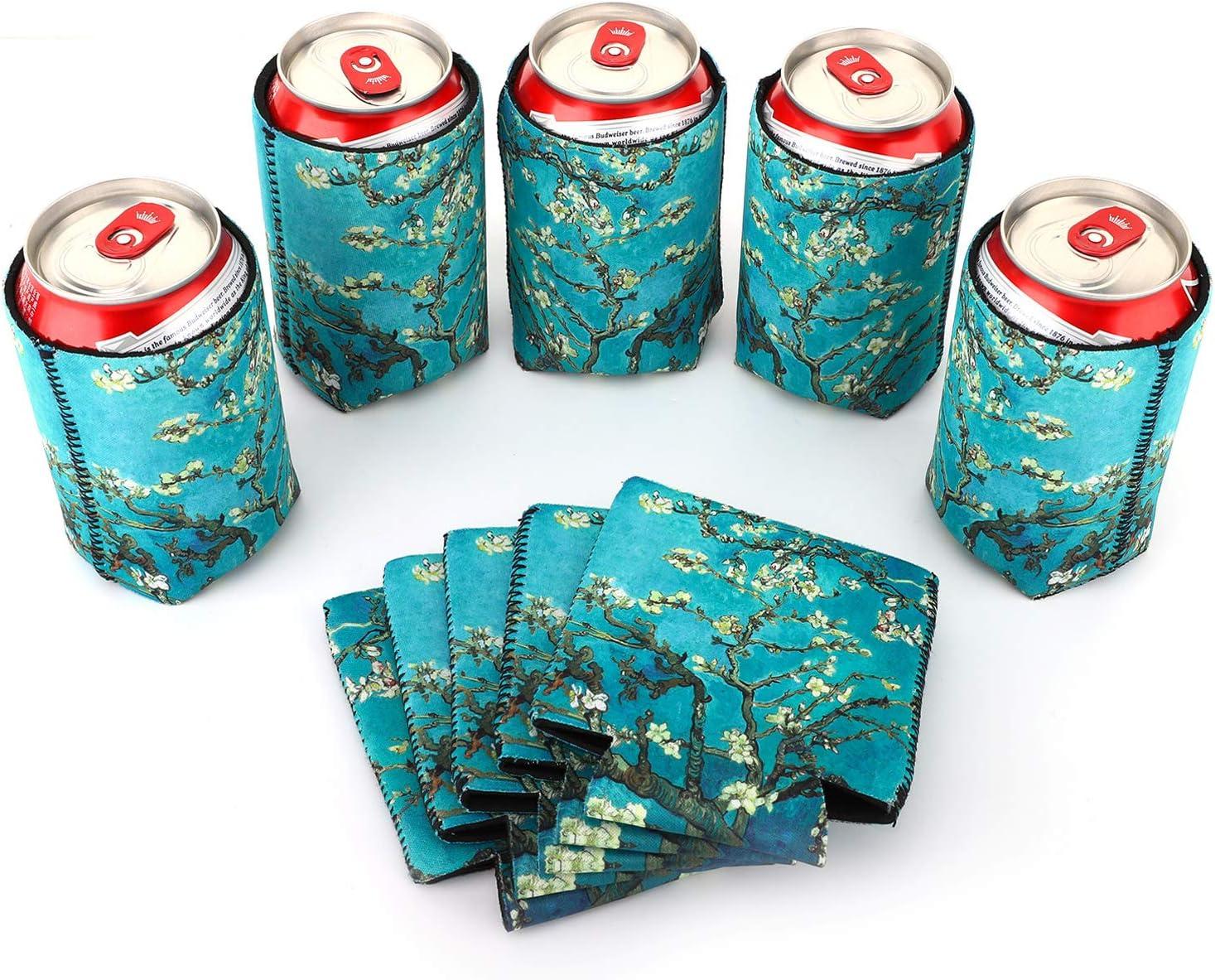Nuovoware Funda de Enfriadores de Latas de Neoprenos, [10-PZS] Premium Cubierta de Aislamiento para Latas Botellas Cerveza Refresco para Can, BBQ, Fiestas, DIY - Flor de Almendra