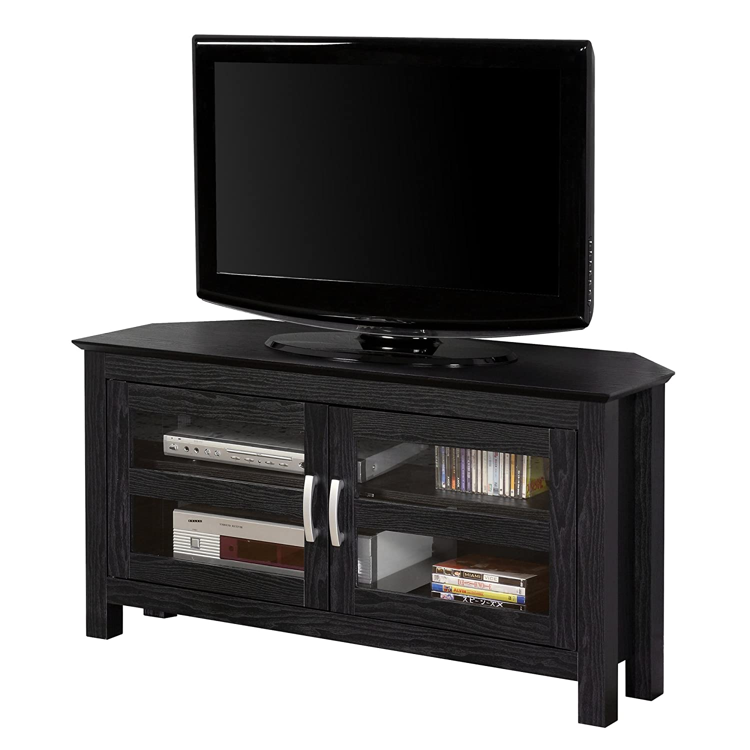 Amazon.com: New 44 Inch Wide Corner TV Stand, Black Finish And Glass Doors:  Kitchen U0026 Dining