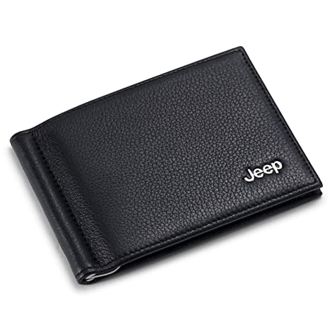 5ed407679072 Jeep Bifold Money Clip Wallet with 6 Credit Card Slots - Genuine Leather