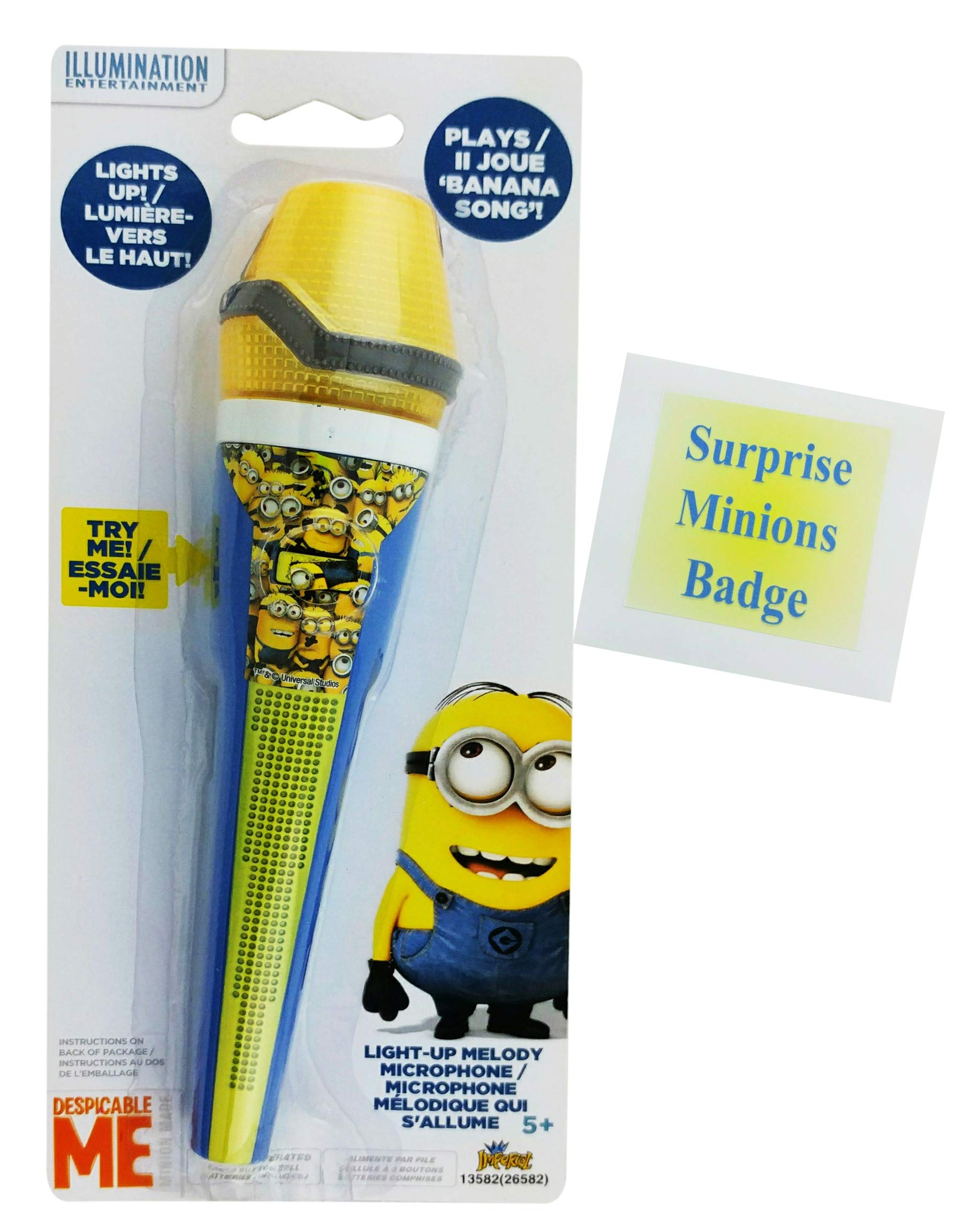 Minions toys | Despicable Me Sing-along Banana Song Melody Microphone and Minions Badge by Imperial Toys