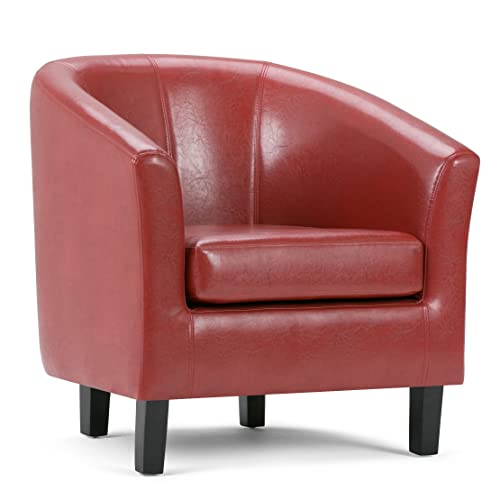 Simpli Home AXCTUB-003 Austin 30 inch Wide Transitional Tub Chair in Red Faux Leather