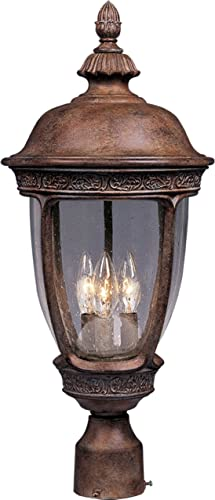 Maxim 3461CDSE Knob Hill DC Seedy Glass Post Pole Mount, 3-Light 180 Watts, 28 H x 13 W, Sienna