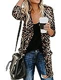 Nlife Women Stylish Leopard Print Gradient Long Cardigan Long Sleeve Tops Blouse