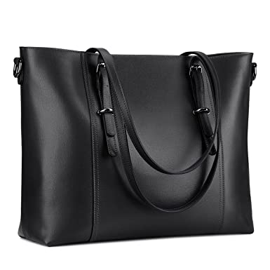 3d9e6cab55a8 S-ZONE Leather Laptop Bag for Women Fits up to 15.6 inch Business Tote  Shoulder