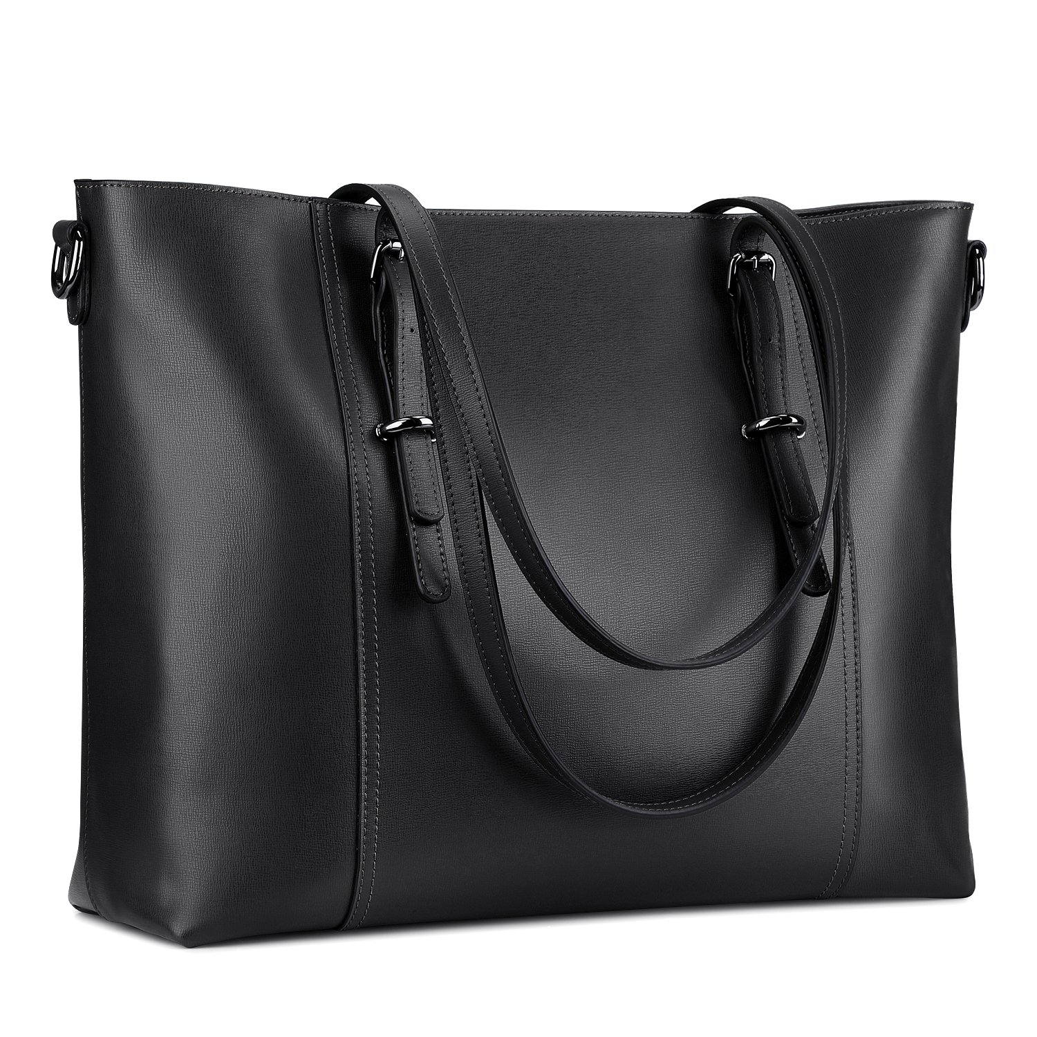 S-ZONE Leather Laptop Bag for Women Fits up to 15.6 inch Business Tote Shoulder Bag Purse (Black) by S-ZONE (Image #1)