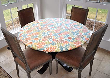 7aeb042e990 Covers For The Home Deluxe Elastic Edged Flannel Backed Vinyl Fitted Table  Cover - Botanical Pattern