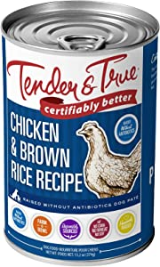 Tender & True Antibiotic-Free Chicken & Brown Rice Recipe Canned Dog Food, 13.2 oz, Case of 12