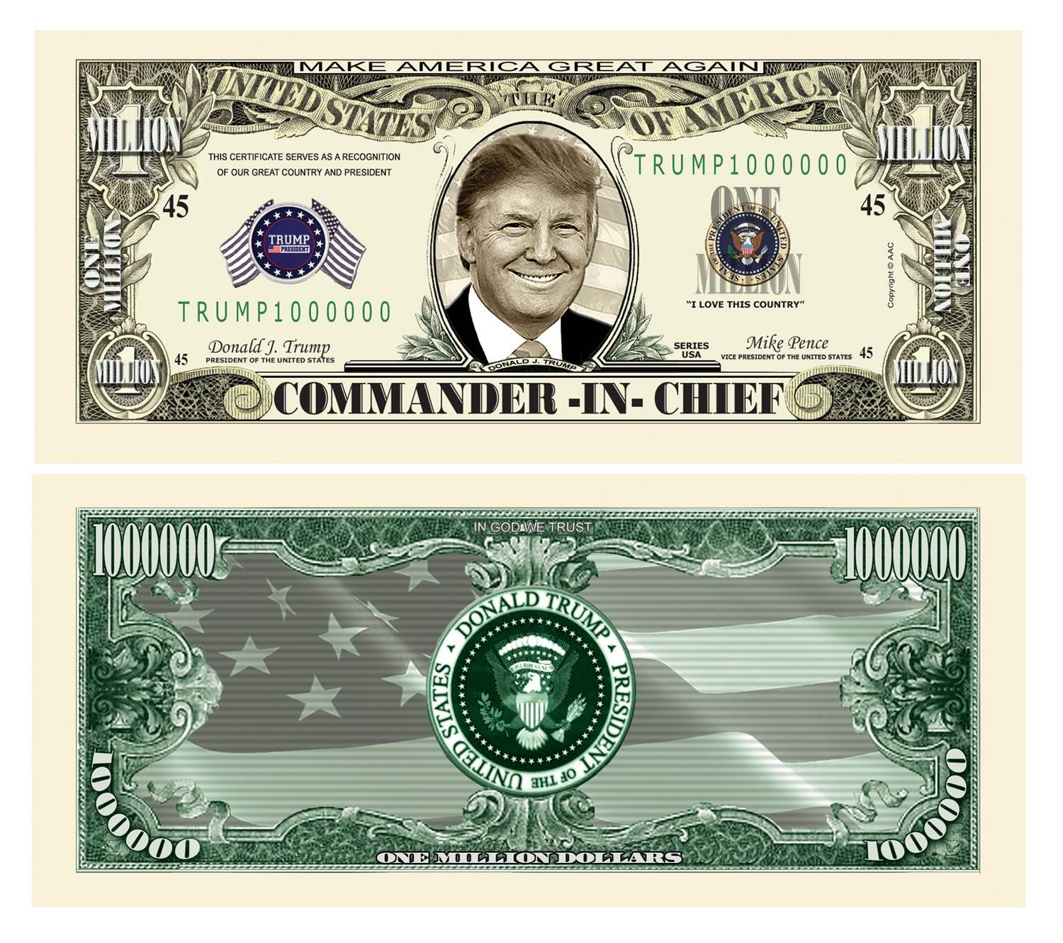 American Art Classics Pack of 100 - Donald Trump Commander in Chief Presidential Limited Edition Million Dollar Bill by American Art Classics