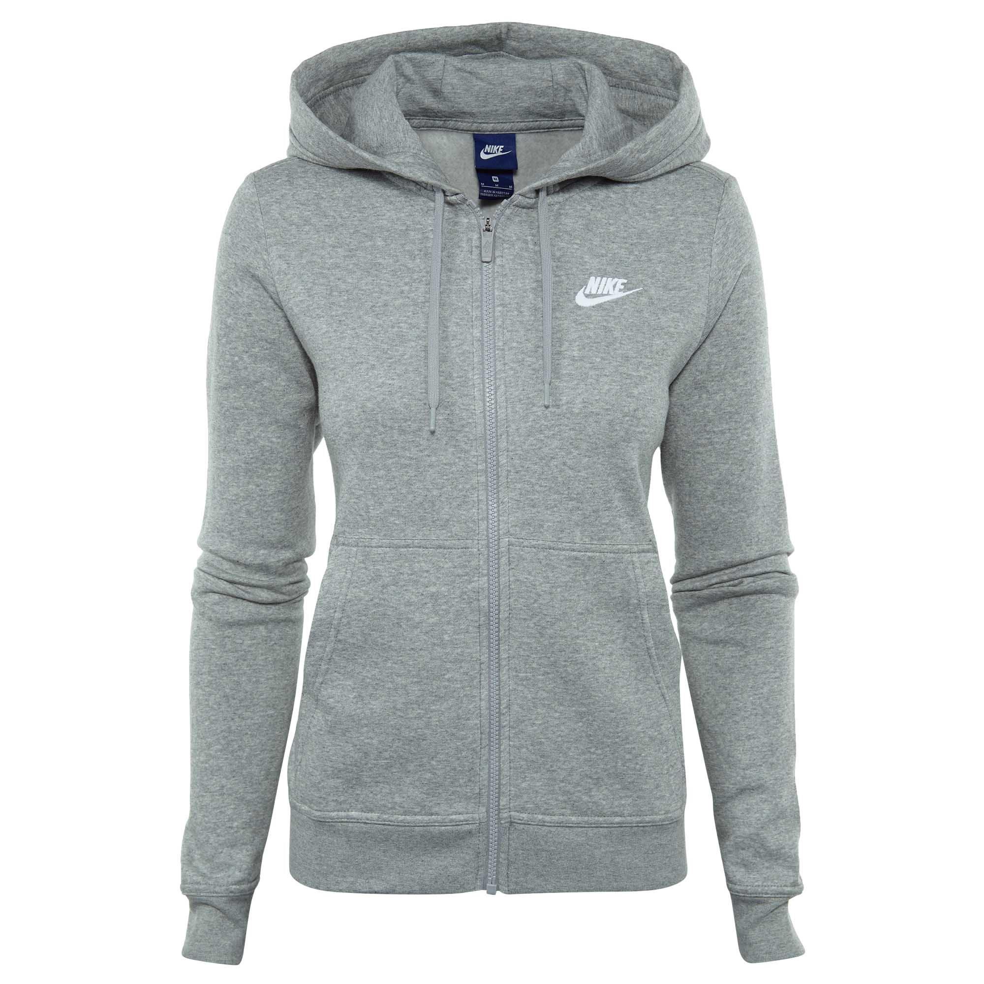 NIKE Sportswear Women's Full Zip Fleece Hoodie, Dark Grey Heather/Dark Grey Heather/White, XX-Large