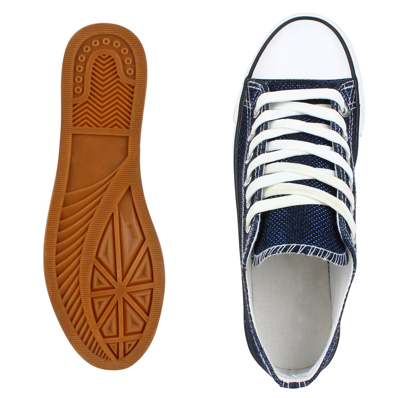 Japado Elegante Damen Sneakers Low Glitzer Gr. Canvas Schuhe Turnschuhe Freizeit Gr. Glitzer 36-41 Dunkelblau Shiny 6ac9e1