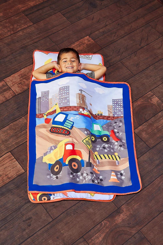 Evely Kids - Colchoneta para Siesta con Almohada extraíble – Enrollable y Cierre con Correas de Velcro, asa de Transporte, Microfibra Suave para Preescolar, guardería, Bolsa de Dormir para niños