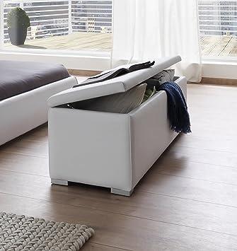SAM® Sitzbank Bettbank Aufklappbar Weiß 160 Cm HEIDI Truhe Komfortabel  Polsterung Pflegeleicht Schlicht Elegant Stauraum