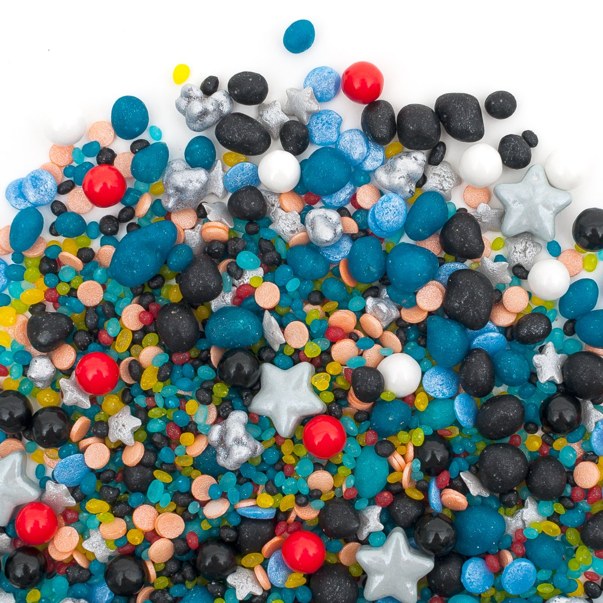 Save 20% at Checkout!   Candy Sprinkles   Outer Space Candyfetti   8oz Jar   Black Blue Red Gold and White   Stars and Asteroids   MADE IN THE USA!