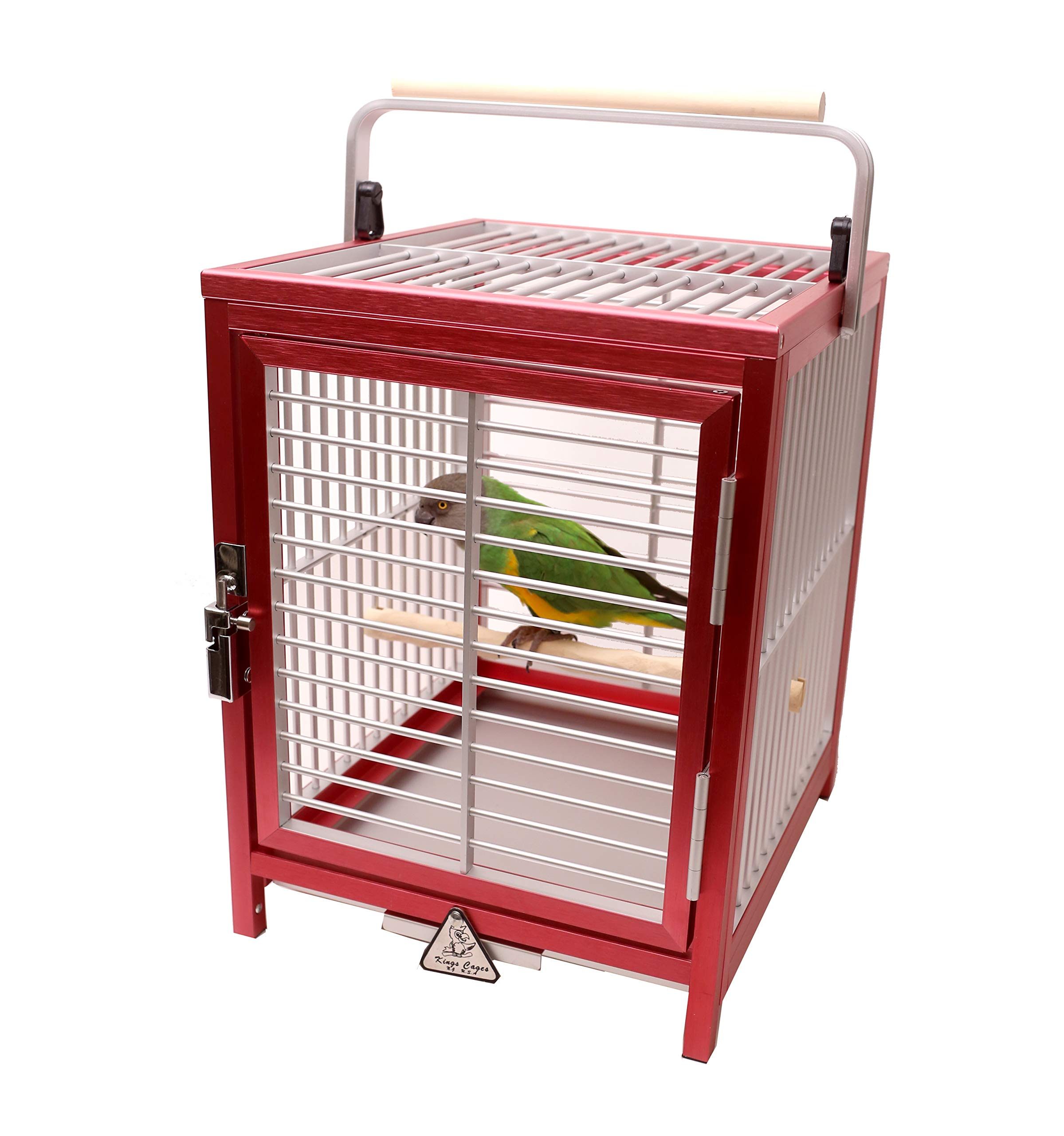 Red Aluminum Travel Cage for Parrots with NU Perch