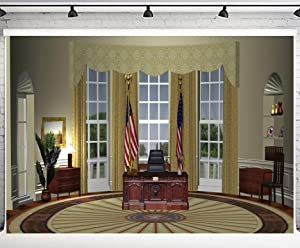 PHMOJEN 10x7ft White House President Oval Office Photography Backdrop Vinyl Photo Background YouTube Facebook Props WQPH664
