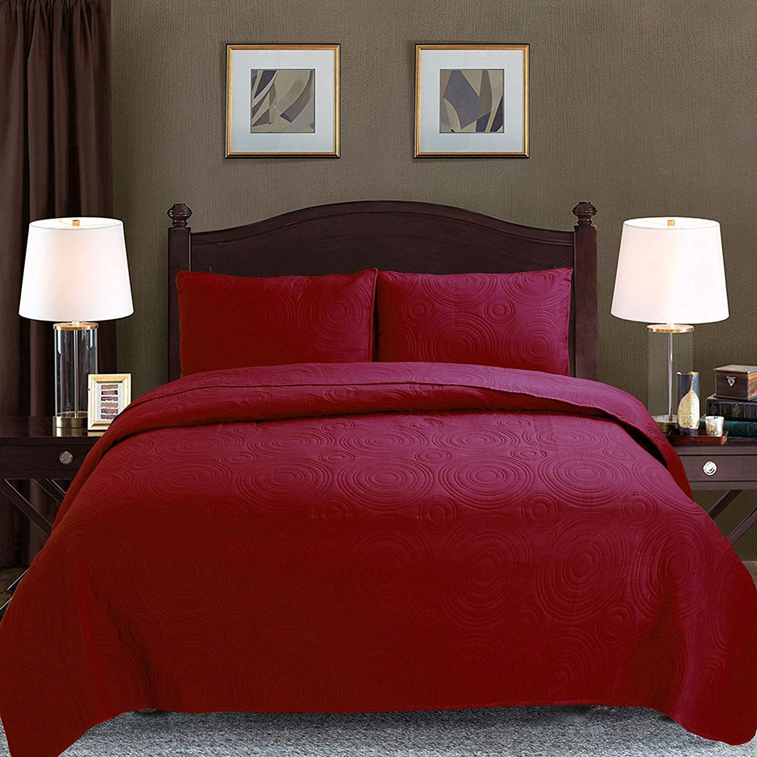 "Majiija Oversized 3 Piece Embossed Quilted Bedspread Coverlet Set 106""x118"" King, Burgundy"