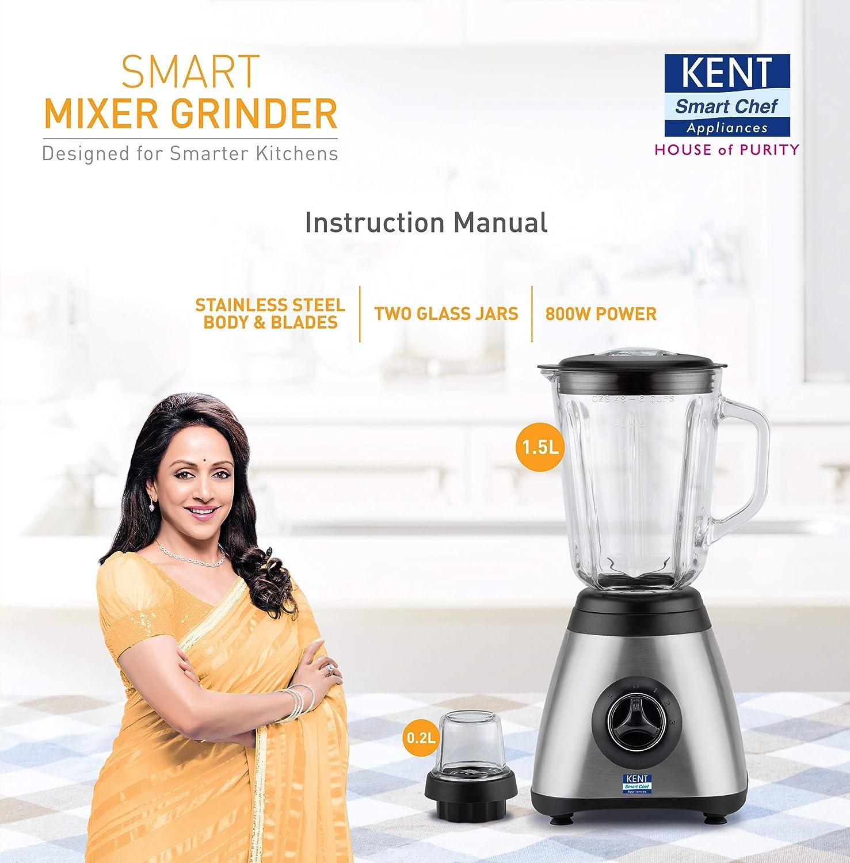 Kent 16029 800 Watt Mixer Grinder With 2 Jars Silver