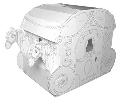 My Very Own House Cardboard Coloring Playhouse Princess Carriage, 40\