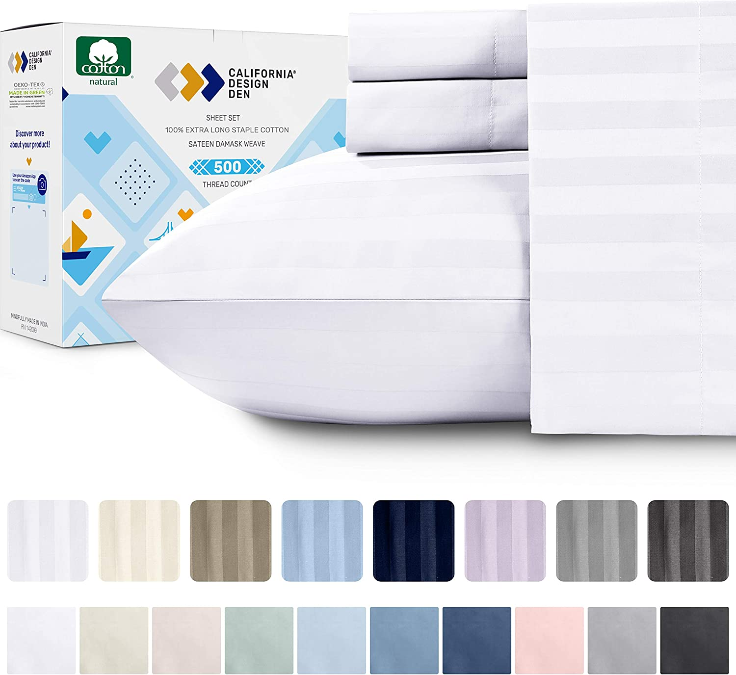 500 Thread Count 100/% Cotton Sheet Set Long Staple Combed Pure Natural Cotton Bedsheet White, Full 4 Pieces Sheet Set Soft /& Silky Sateen Weave